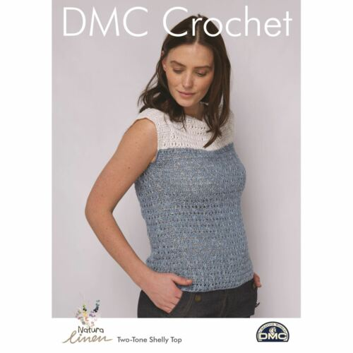 Two-Tone Shelley Top DMC Natura Linen Crochet Pattern