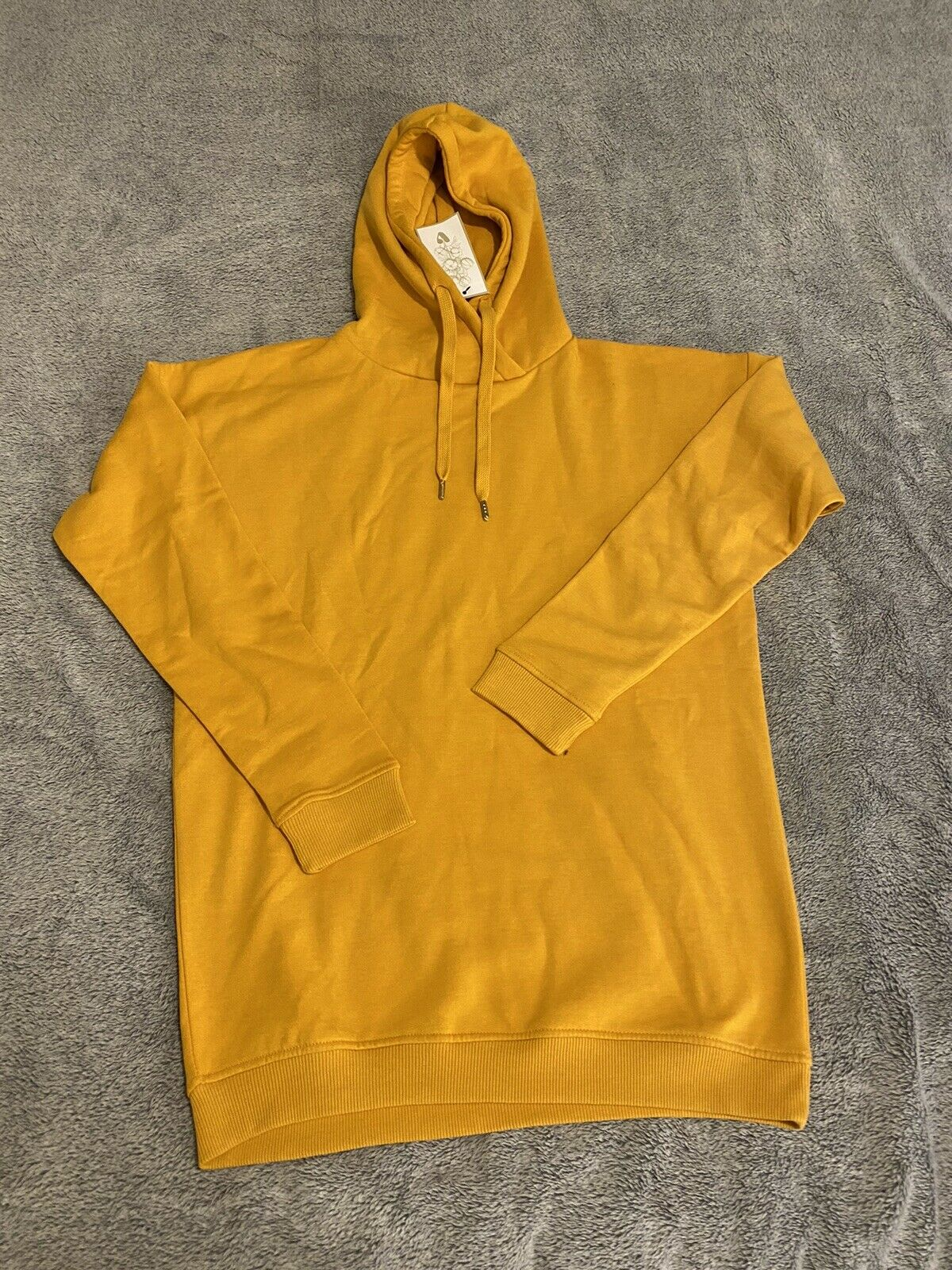 V by Very Yellow Marl Cross Neck Longline Hoodie UK 10 BNWT