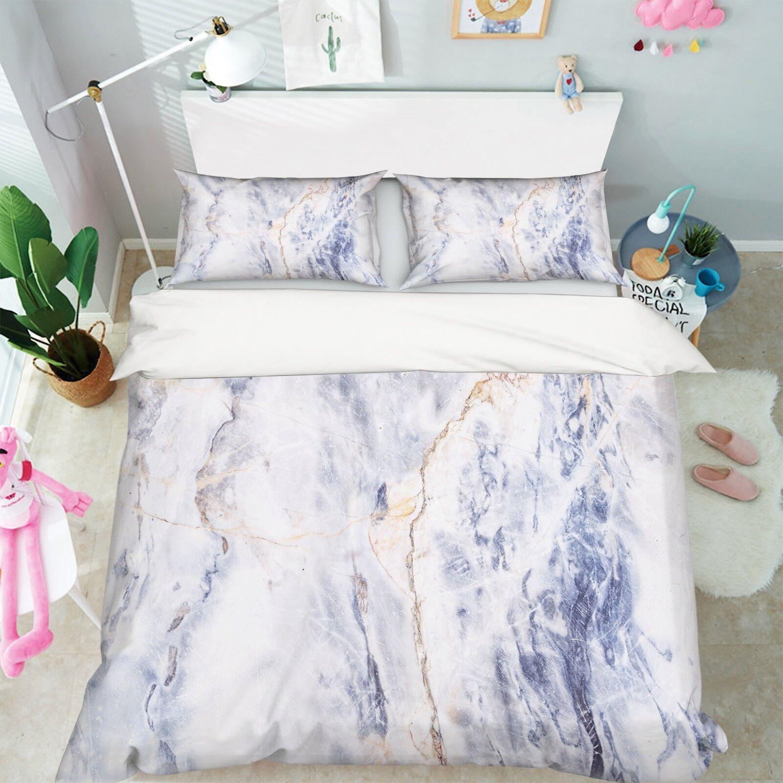 3D Weiße Marmor Textur 56 Bett Kissenbezüge steppen Duvet Decken Set Single DE
