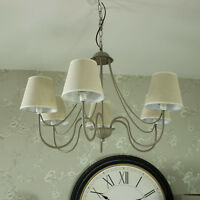 Large Grey 6 Arm Chandelier Pendant Light Fitting Shabby Vintage Chic Lighting