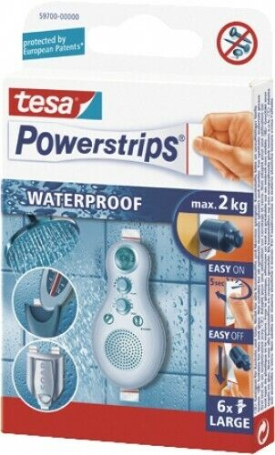 Tesa Powerstrips® Waterproof Large Packung á 6Stück Klebestrips wasserfest groß