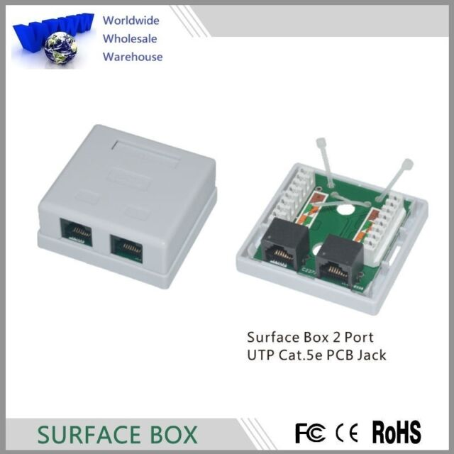 Rj45 Cat5e Surface Wall Mount Ethernet Jack 2 Port -100 | eBay
