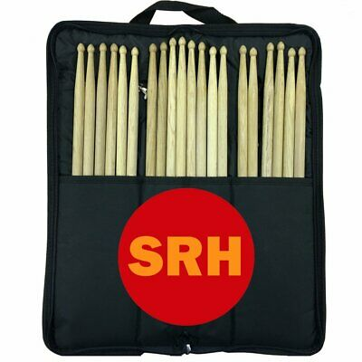 Oak Drum Sticks 12 Pair inc Zip Case 2B Drumstick Size Solid Wood Through to Tip