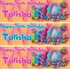 2 x personalised Trolls birthday banner Nursery kids children party decoration
