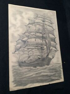 Vintage-Tall-Ship-Sails-Ocean-Pencil-Graphite-Drawing-Illustration-Nease-Signed