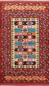 Geometric Traditional Turkoman Hand-knotted Area Rug Wool Oriental 4'x5' Carpet