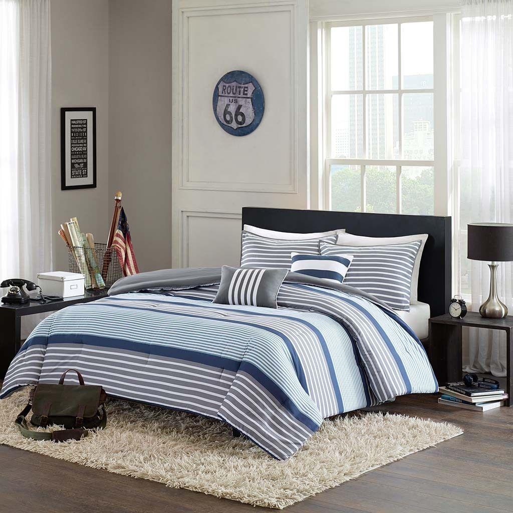 BEAUTIFUL MODERN Blau grau NAVY Weiß STRIPE COMFORTER SET & 2 PILLOWS NEW