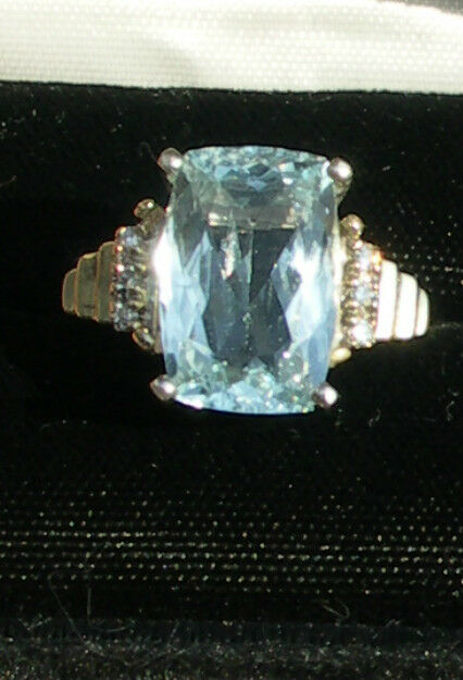 Estate Natural Santa Maria 6.15 carat Aquamarine & Diamond 14k gold ring Sz 7.25