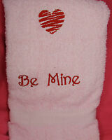 Embroidered Red Heart Bath Towel Be Mine - 100% Cotton Lombs