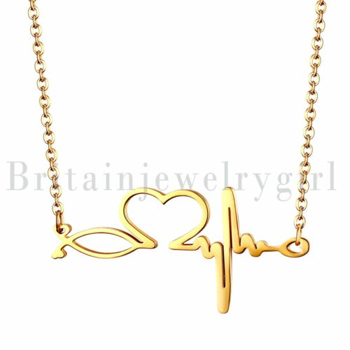 Women Ladies Stainless Steel Heartbeat EKG Pendant Necklace Nurse Jewelry Gifts