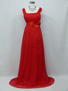 Cherlone Chiffon Red Ballgown Wedding Evening Bridesmaid Full Length Dress 14