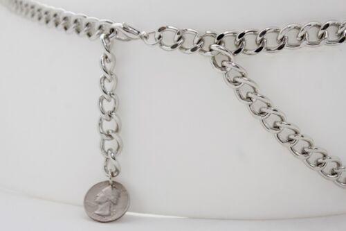 Fun Women Fierce Belt Silver Metal Chunky Chain Quarter Coin Charm Buckle M L XL