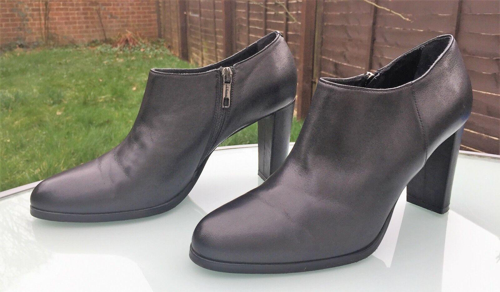 L.K. Bennett Bottines à Talon Chaussures Bottes-EU 40 UK 7-Soft Cuir Noir-Très bon état