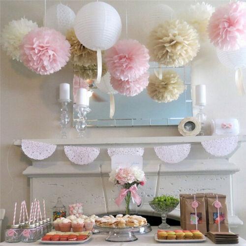 5X Weiß Papier Tissue Pom Poms Bälle für Hochzeit Home Party DekoratioRSDE