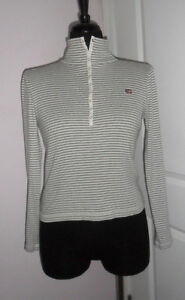 Details about Polo Jeans Co Ralph Lauren Sweater M/M GRAY,STRIPED,CHEST  SNAP TUBE,LONG SLEEVE