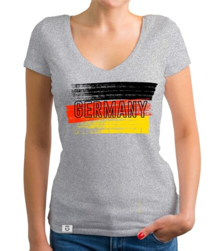 WM EM Fußball Deutschland Flagge Germany Farbstreifen Damen T-Shirt V-Neck