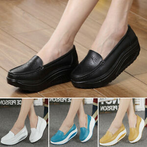 Fashion-Women-Lady-Slip-On-Nurse-Swing-Work-Single-Shoes-Platform-Wedges-New