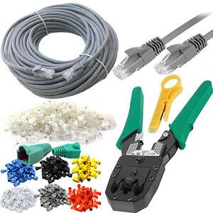 30m RJ45 Cat5e Ethernet Network Cable Crimping Tool 6 Colour Boots ...