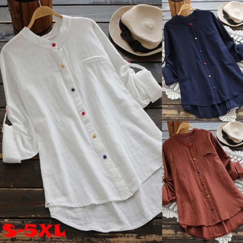 DE Damen Langarmshirt Bluse Hemd Casual Tunika Tops Frauen Longshirt Longtop DE