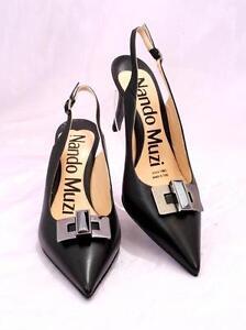 Nando-Muzi-9139-Black-Leather-Slingback-Pointy-Heel-Pumps-38-US-8