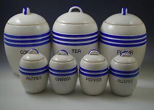 ART-DECO-1930-039-s-JAPAN-SET-OF-7-KITCHEN-CANISTERS-BLUE-BANDS-BARREL-MORIYAMA