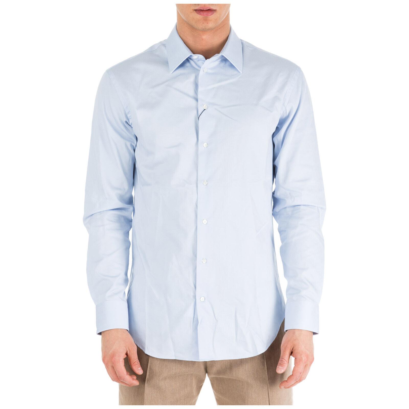 EMPORIO ARMANI MEN'S LONG SLEEVE SHIRT DRESS SHIRT NEW MODERN FIT LIGHT blueE 91E