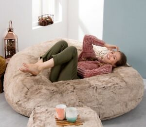 Image Is Loading Extra Large Faux Fur Bean Bag Love Seat