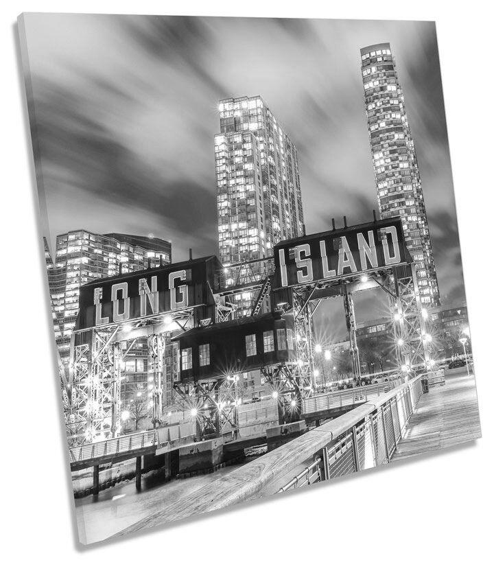 LONG LONG LONG ISLAND NEW YORK B&W SQUARE BOX incorniciato Tela Foto Arte 23f1b2