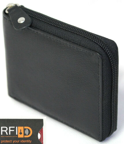 RFID Security Lined Zip-Around Leather Wallet Full Grain Cow Hide Leather 11011