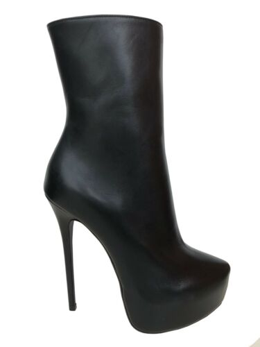 CQ COUTURE NEW ANKLE CUSTOM PLATFORM BOOTS STIEFEL STIVALI BOOTIES BLACK NERO 36