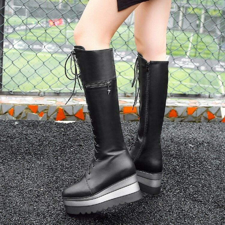 Women Round Toe Lace up Wedge Heels Zip Punk Knee High Boots Winter shoes size
