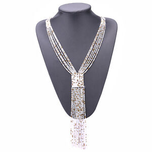 Multi-layer-Woven-Beads-Necklace-Jewelry-Handmade-Bohemia-Long-Tassel-Necklaces