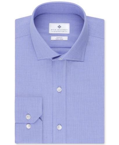 NWT $98 RYAN SEACREST Men SLIM-FIT BLUE WHITE LONG-SLEEVE DRESS SHIRT 17.5 32//33