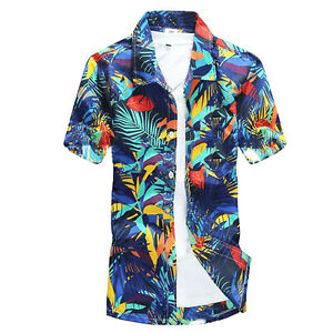 97d5ad84e48 Fashion Men Summer Hawaiian Short Sleeve Shirt Beach Floral Printed ...
