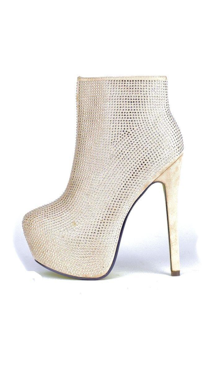 Party High Heel Stiefelette Plateau Schuhe Strass Glitzer GoGo 36-41 gold