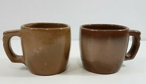 VINTAGE-FRANKOMA-Pottery-2-Brown-Coffee-Mugs-Cups