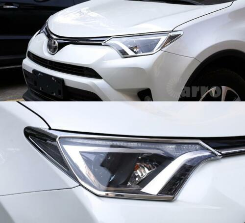 Exterior Front Head Light Lamp Cover Trim Abs Chrome 2 PCS For Toyota Rav4 16-17