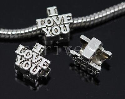 10/40/200pcs Tibetan Silver big Hole I LOVE YOU Jewelry European Charms Beads