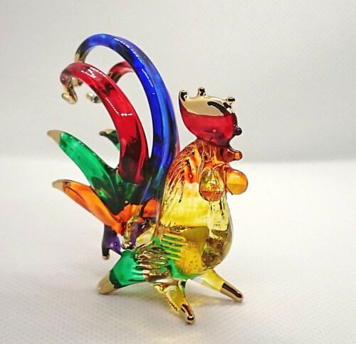 Hand Blown Glass Rooster Cock Chicken Figurines Animals Farm Home Collectibles M