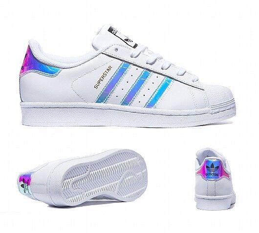 Adidas Superstar Iridescent - White & Dubai Ocean bluee AQ6278 Size 4 5