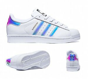 Image is loading Adidas-Superstar-Iridescent-White-amp-Dubai-Ocean-Blue-