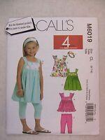 McCalls Pattern M6019 Girls 4 Looks Tops Dresses Leggings & Headband so Cute Craft Supplies