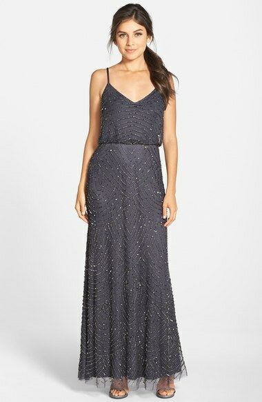 ADRIANNA PAPELL EMBELLISHED BLOUSON GUNMETAL gold  GOWN COLOR DRESS sz 10P