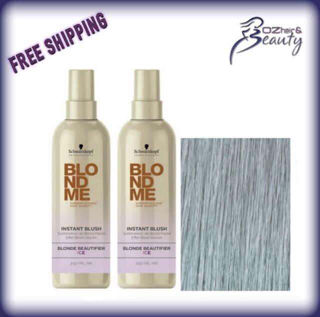 Schwarzkopf BLONDME Instant Blush Temporary Hair Colour - Ice 250ml x 2 Duo