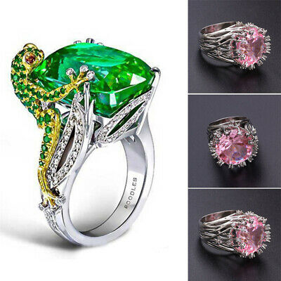 Gold Plated Wedding Ring Colorful Rhinestone Crystal Band Women Jewelry Gift