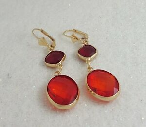 18K-Gold-Filled-Stylish-Italian-Burmese-Red-Spinel-18ct-GF-Drop-Earrings-70mm