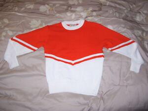 Cheer leading Sweater ORANGE over WHITE ( Orange / White ) - MISSES Size 18