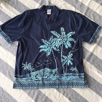 Disney Store Tiki Kingdom Dark Blue Cotton Mickey Mouse Hawaiian Shirt Lg Large