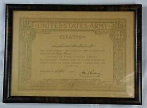 RARE 1919 UNITED STATES MILITARY CITATION SIGNED BY GENERAL JOHN J. PERSHING