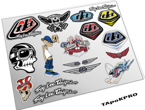 Brand New Custom Troy Lee Design glossy lamination stickers set 1+1